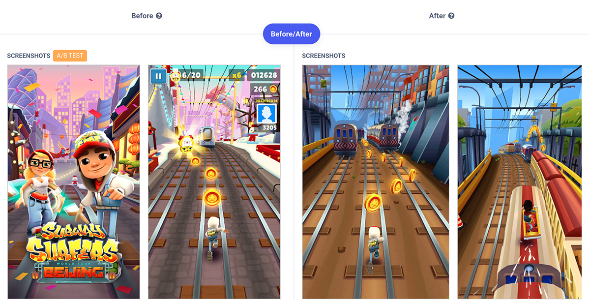 A comparison of the after and before of an app update, comparing its different metadatas.